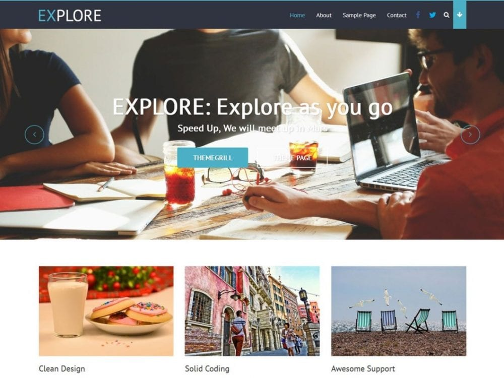 Free Explore WordPress theme