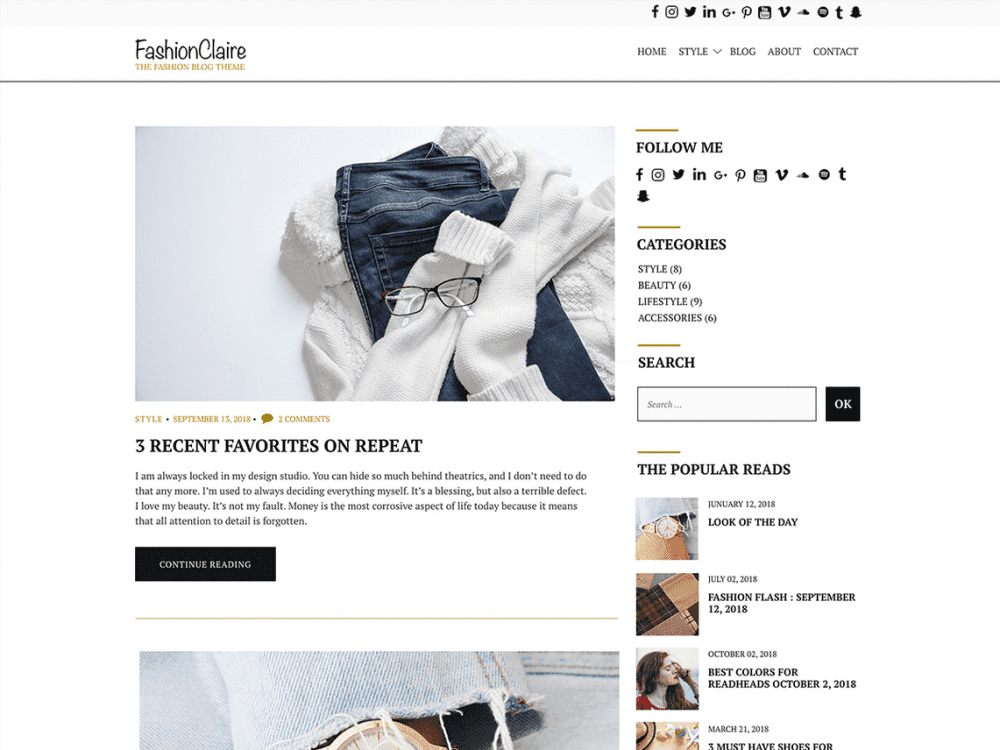 Free Fashionclaire WordPress theme