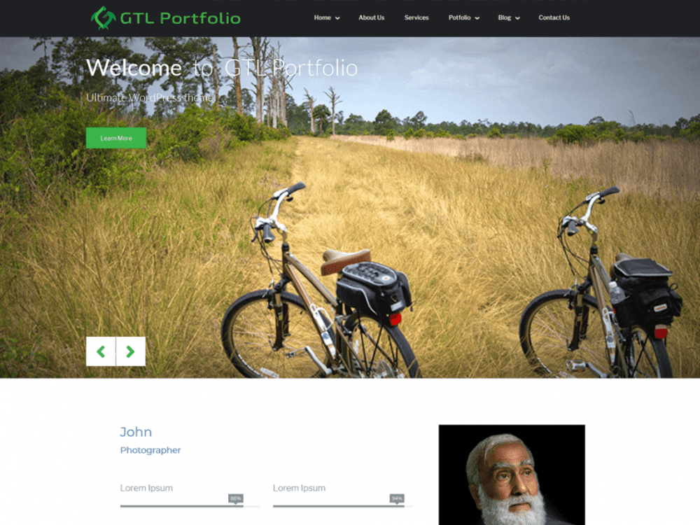 Free GTL Portfolio WordPress theme
