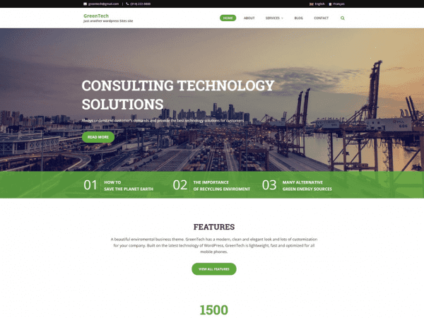 Free GreenTech Lite WordPress theme