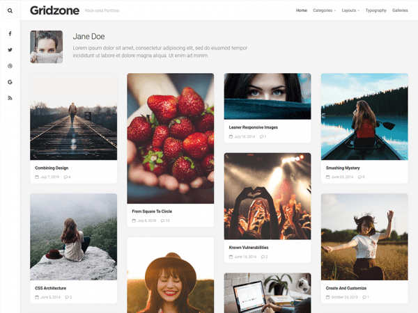 Free Gridzone WordPress theme