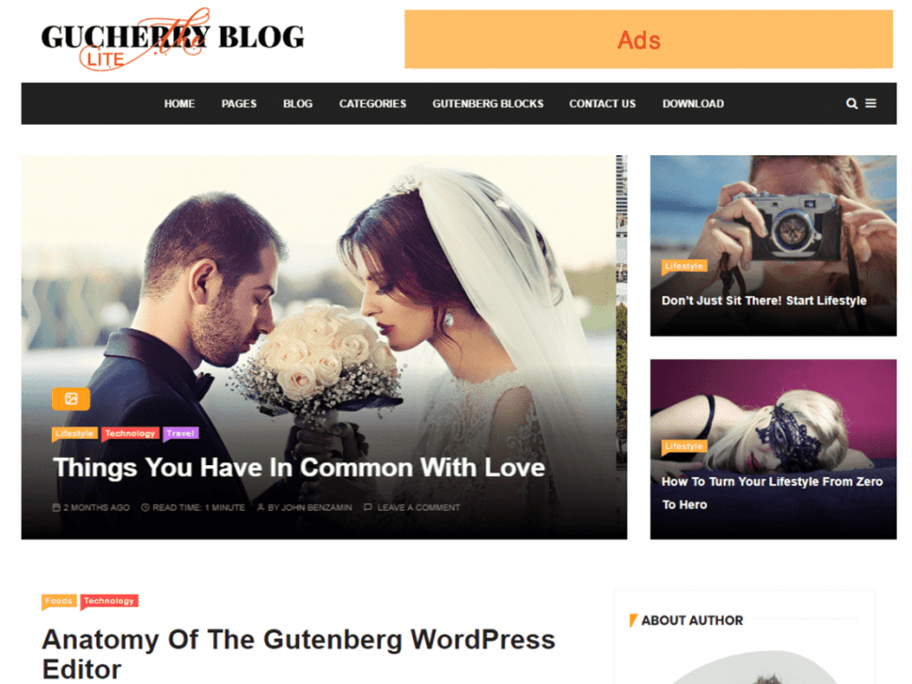 Free GuCherry Lite WordPress theme