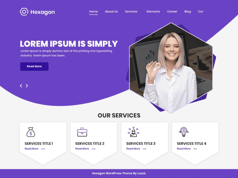 Free Hexagon WordPress theme