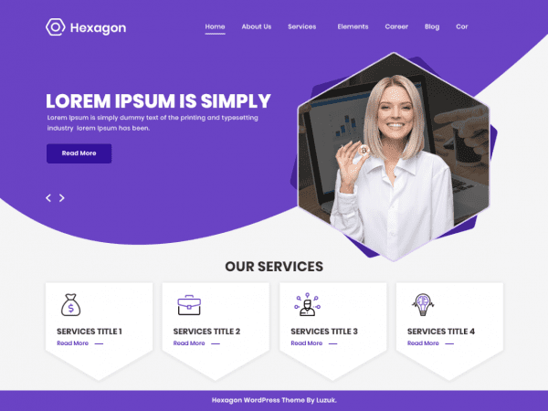 Free Hexagon WordPress theme
