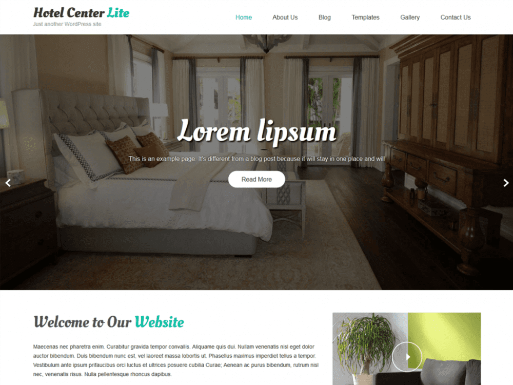 Free Hotel Center Lite WordPress theme