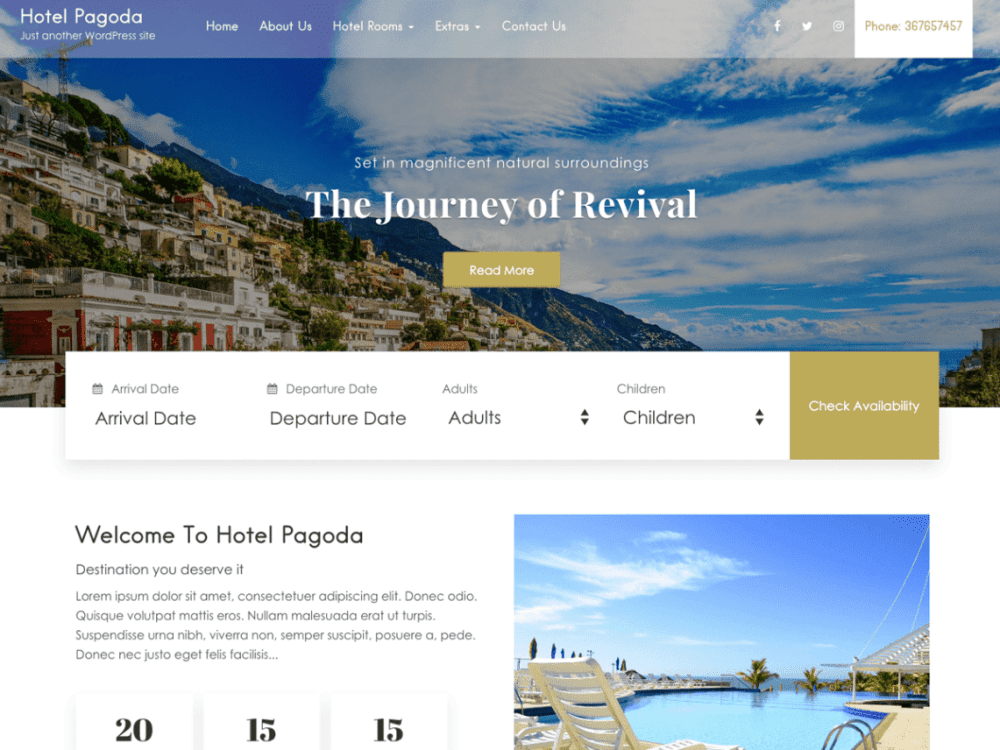 Free Hotel Pagoda Lite WordPress theme
