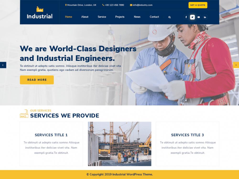 Free Industrial Lite WordPress theme