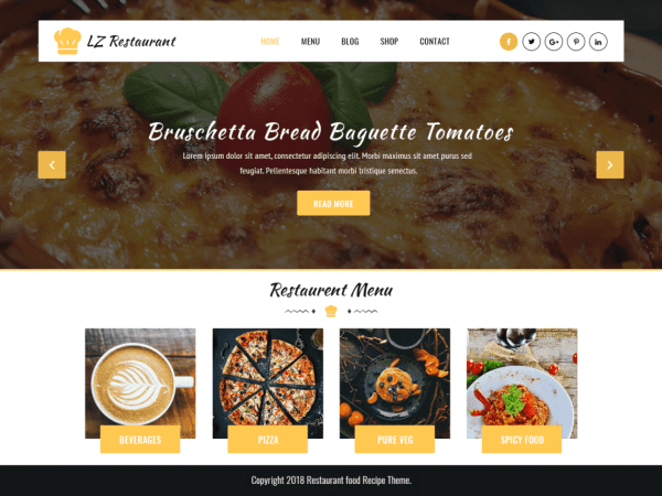 Free LZ Food Recipee WordPress theme