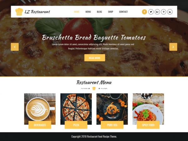 Free LZ Food Recipee WordPress theme