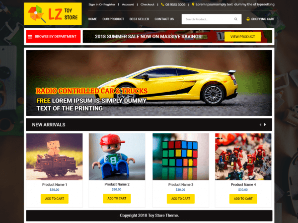 Free LZ Toy Store WordPress theme