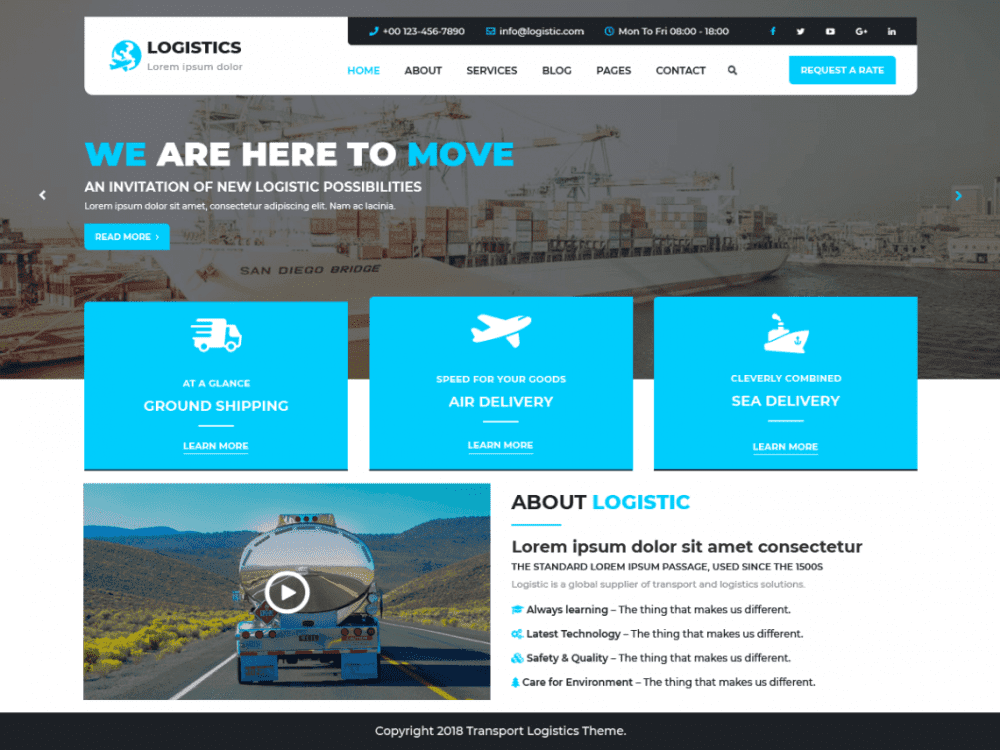Free Logistic Transport WordPress theme