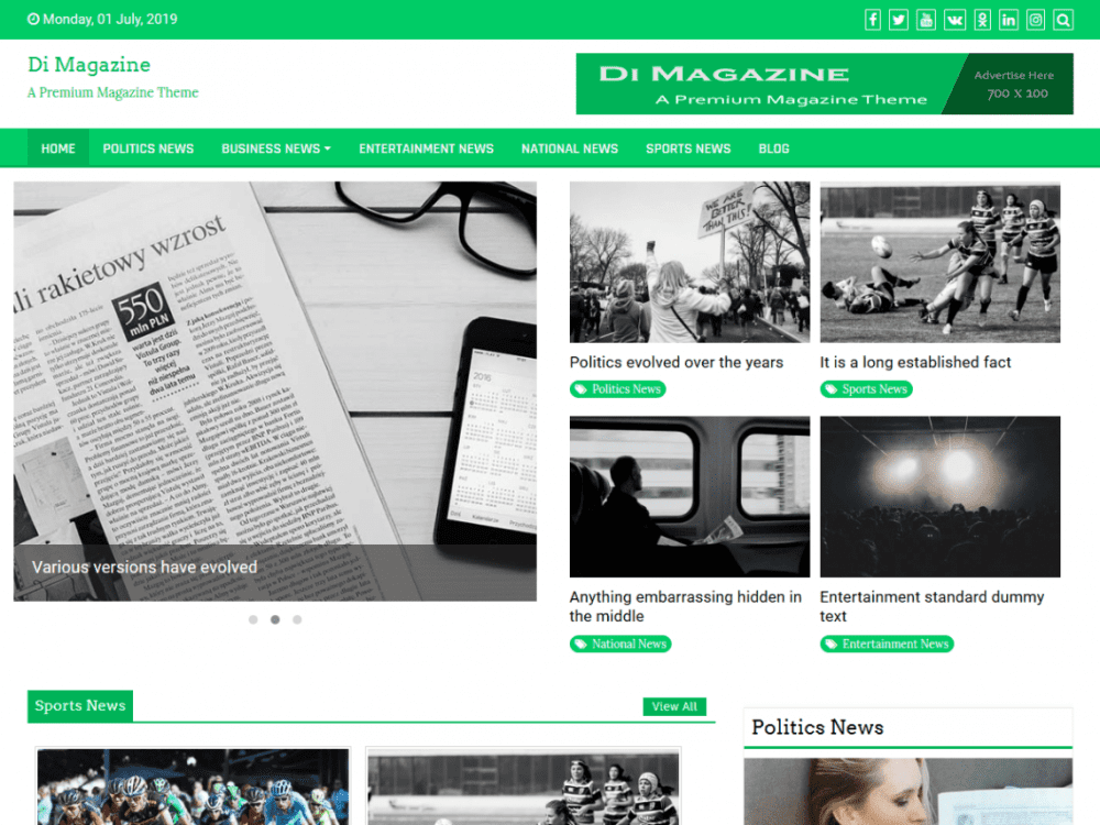 Free Magazine News Plus WordPress theme