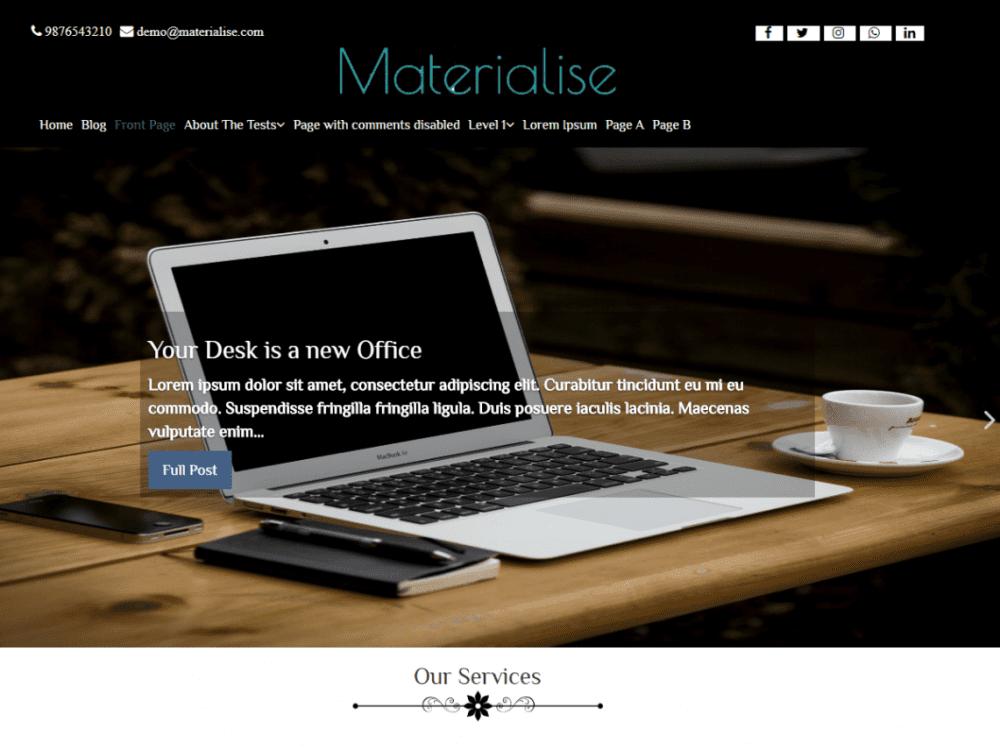 Free Materialise WordPress theme