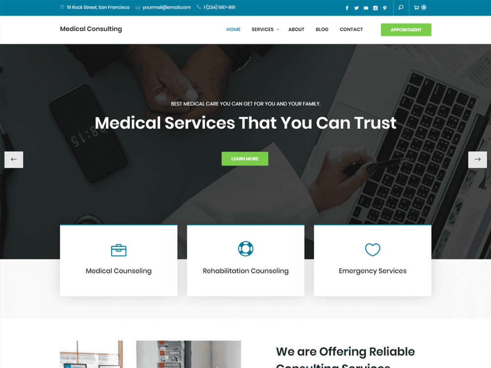 Free Medical Consulting WordPress theme