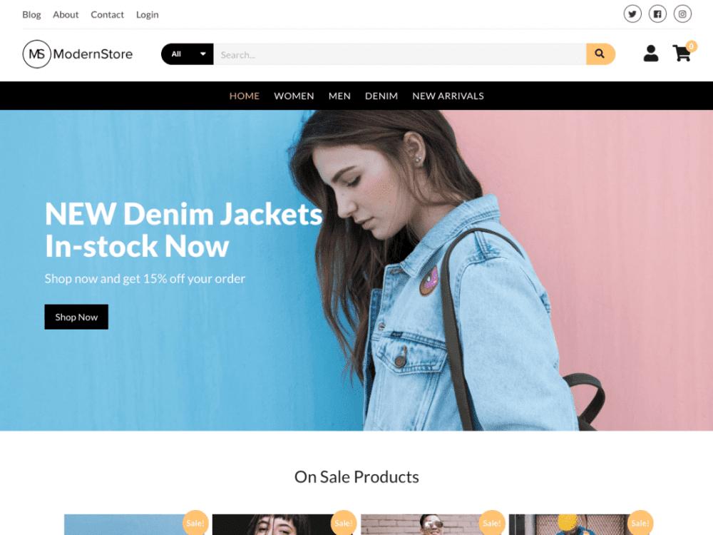 Free Modern Store WordPress theme