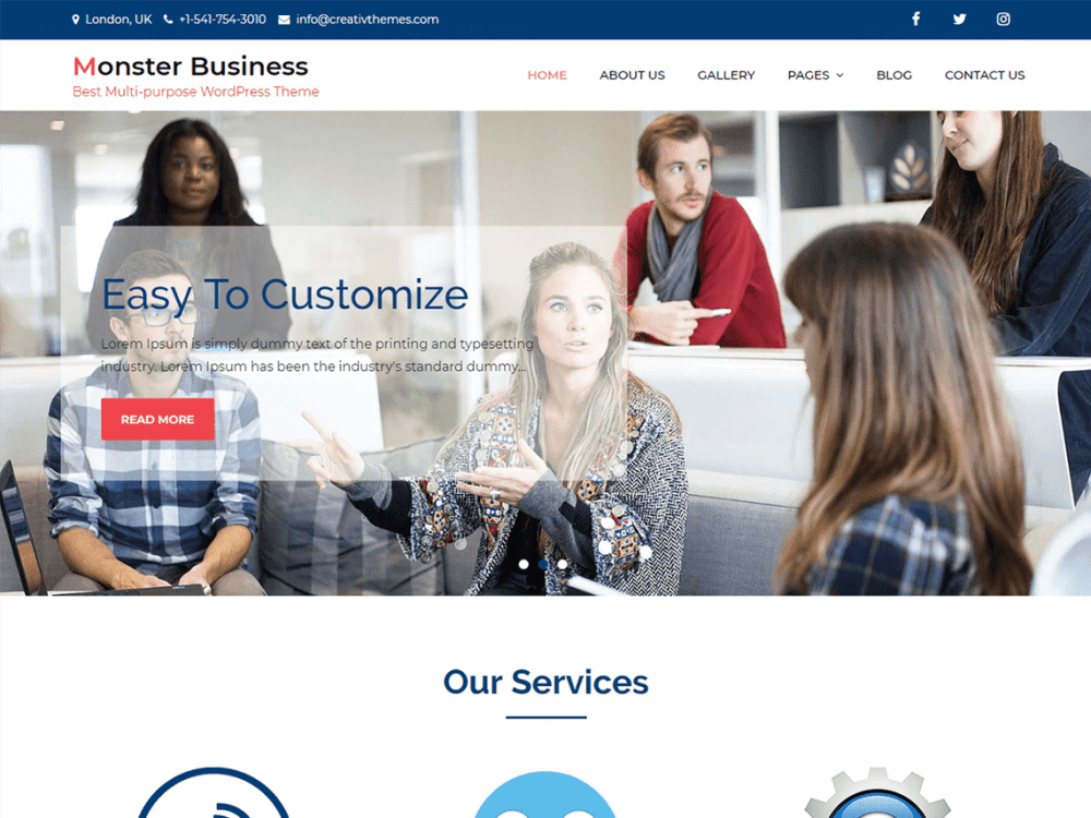 Free Monster Business WordPress theme