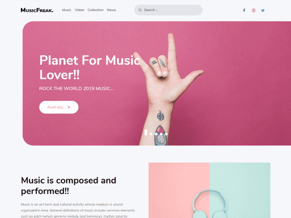 Free Music Freak WordPress theme