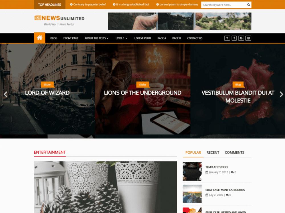Free News Unlimited WordPress theme