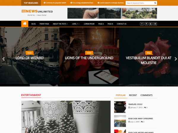 Free News Unlimited WordPress theme