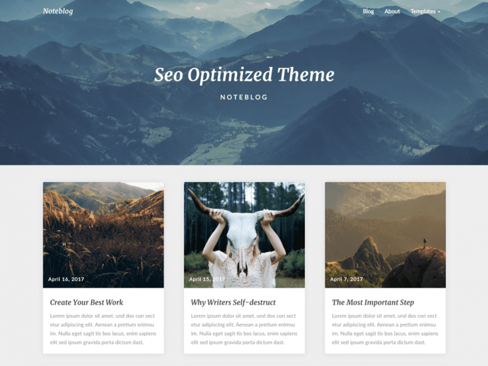 Free Noteblog WordPress theme