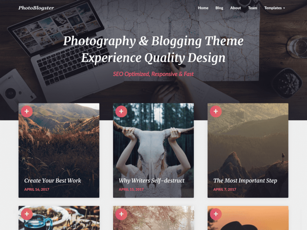 Free PhotoBlogster WordPress theme