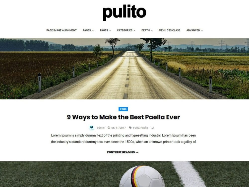 Free Pulito Clean Blog Lite WordPress theme