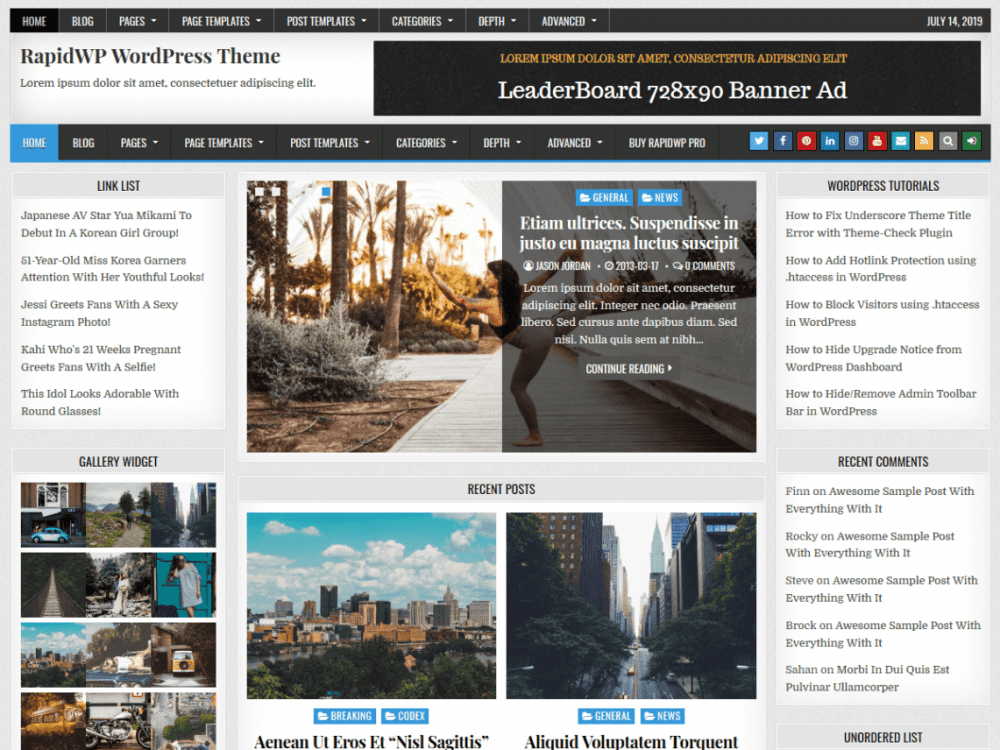 Free RapidWP WordPress theme