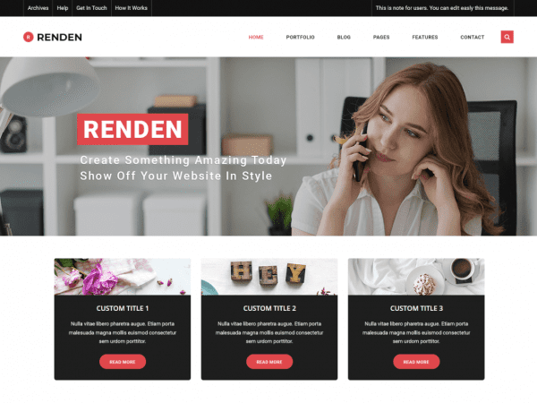 Free Renden Dark WordPress theme