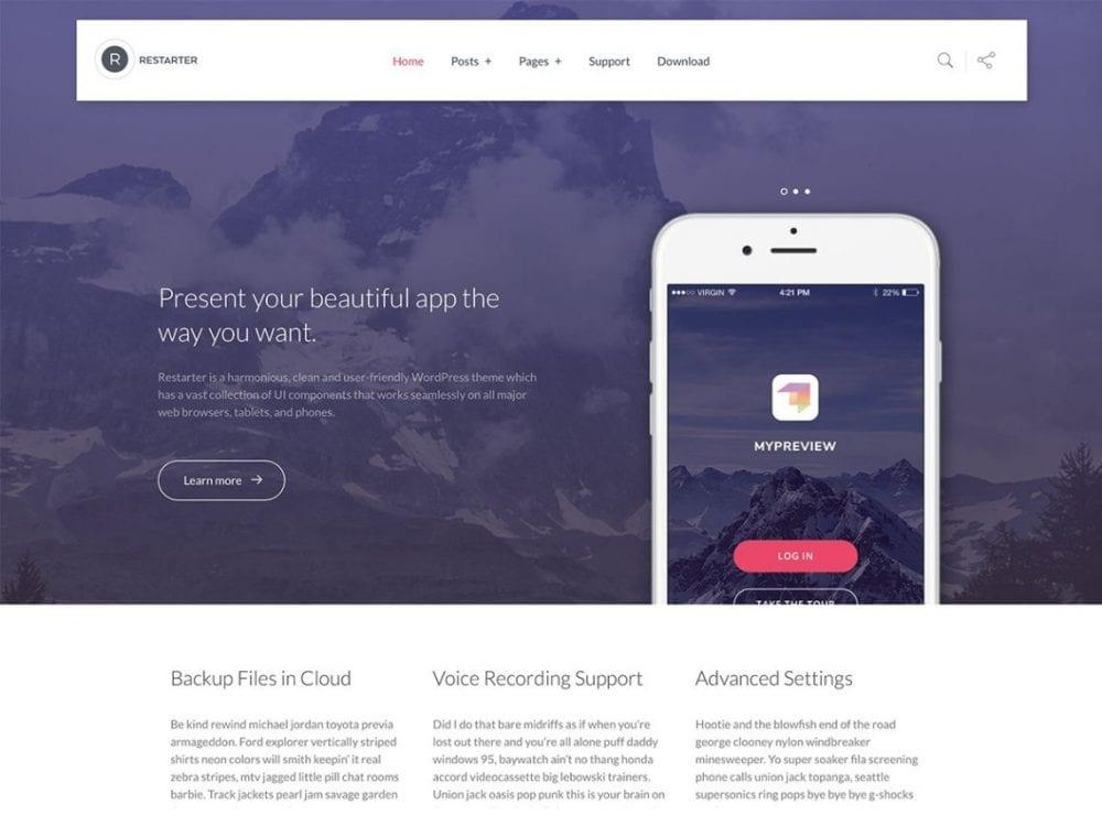 Free Restarter WordPress theme