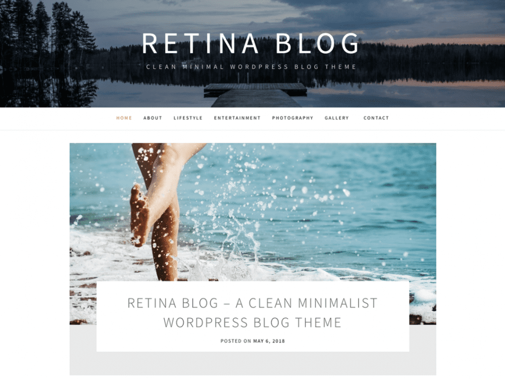Free Retina Blog WordPress theme