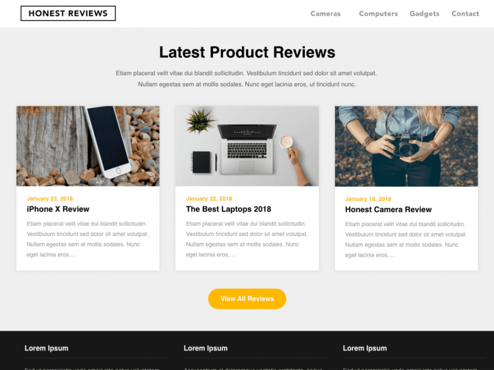 Free Reviewers Landing Page WordPress theme