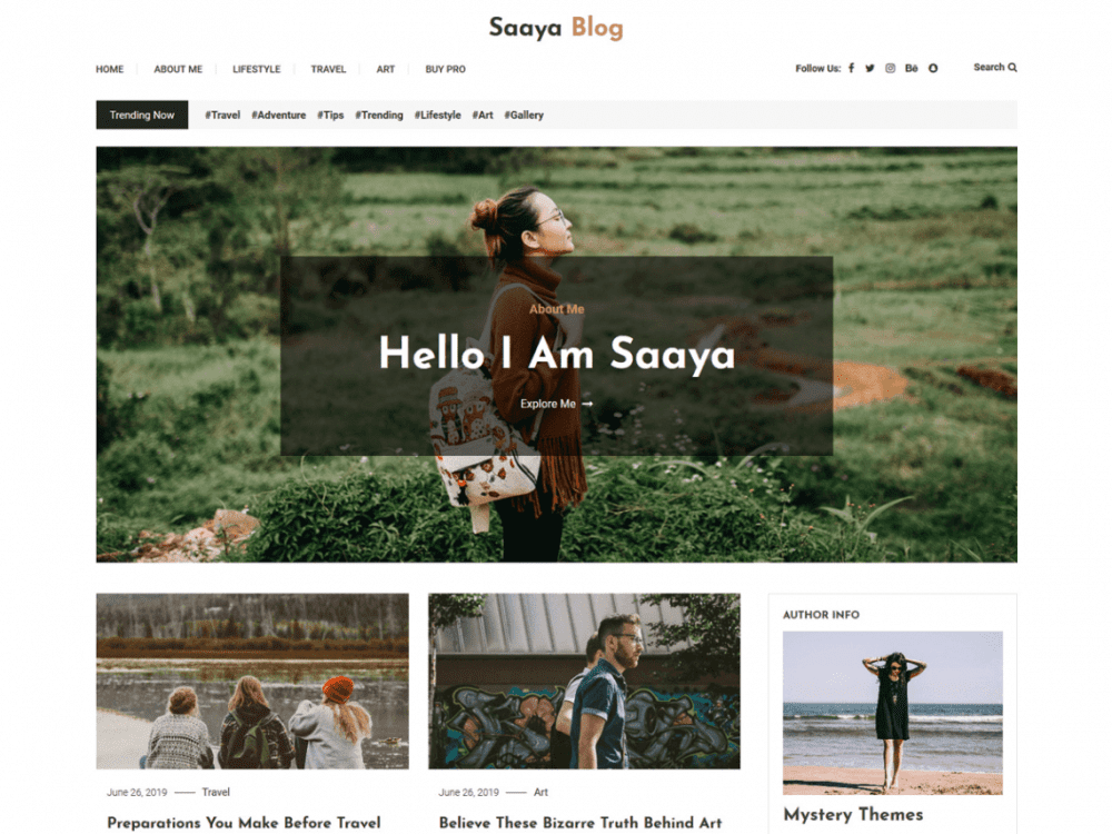 Free Saaya Blog WordPress theme