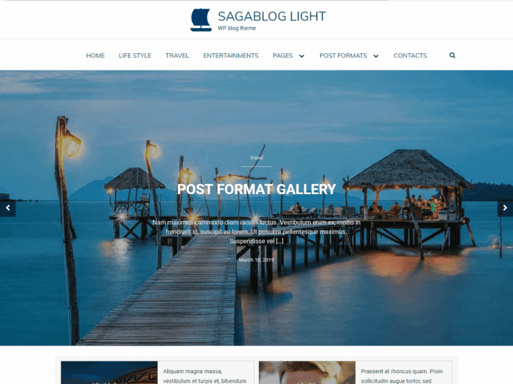 Free SagaBlog Light WordPress theme