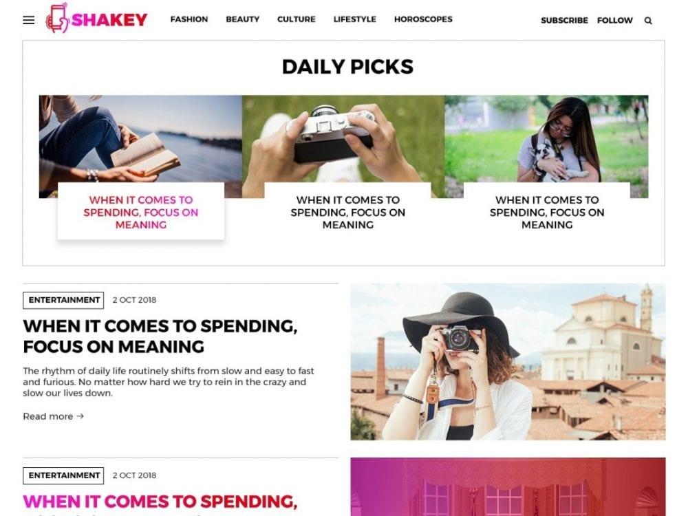 Free Shakey WordPress theme