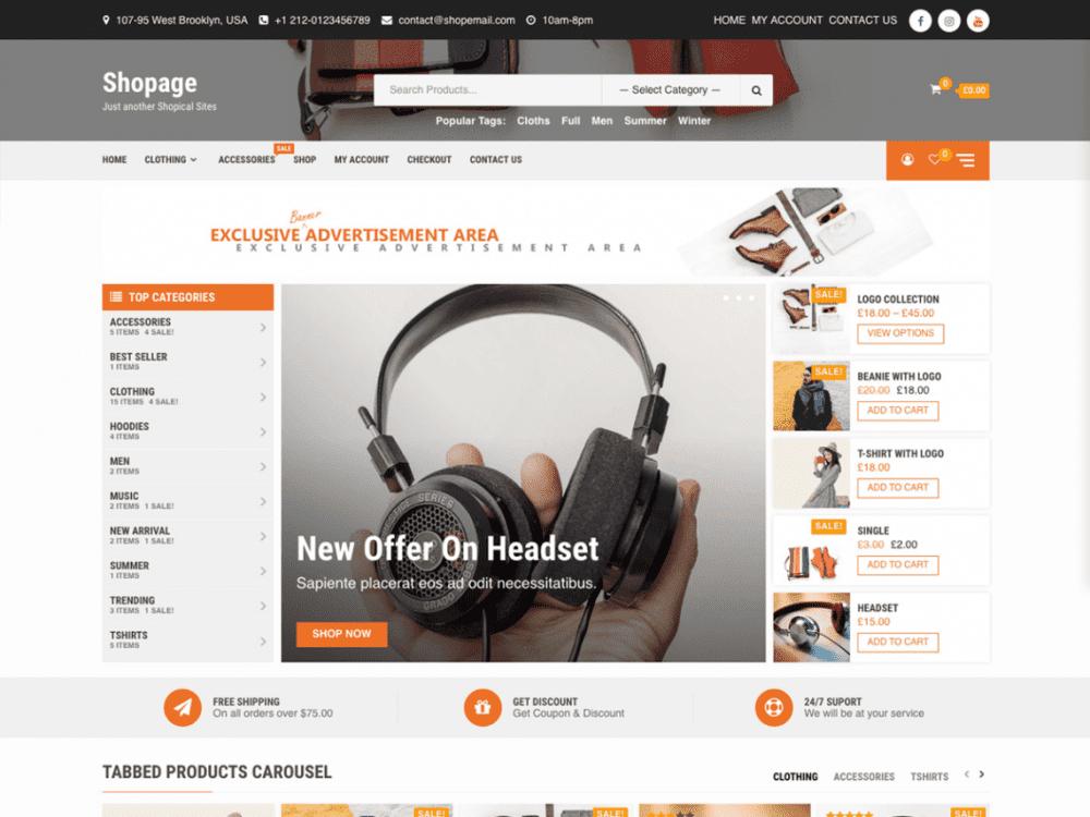 Free Shopage WordPress theme