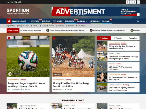 Free Sportion WordPress theme