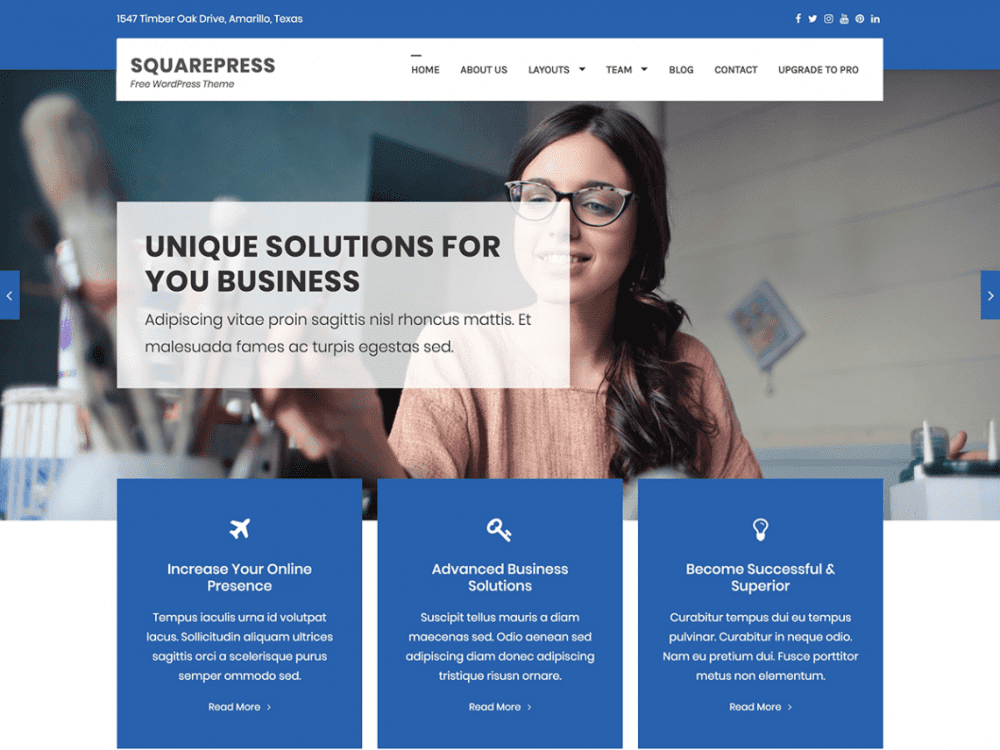 Free SquarePress WordPress theme