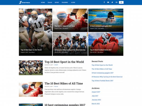 Free SuperSport WordPress theme