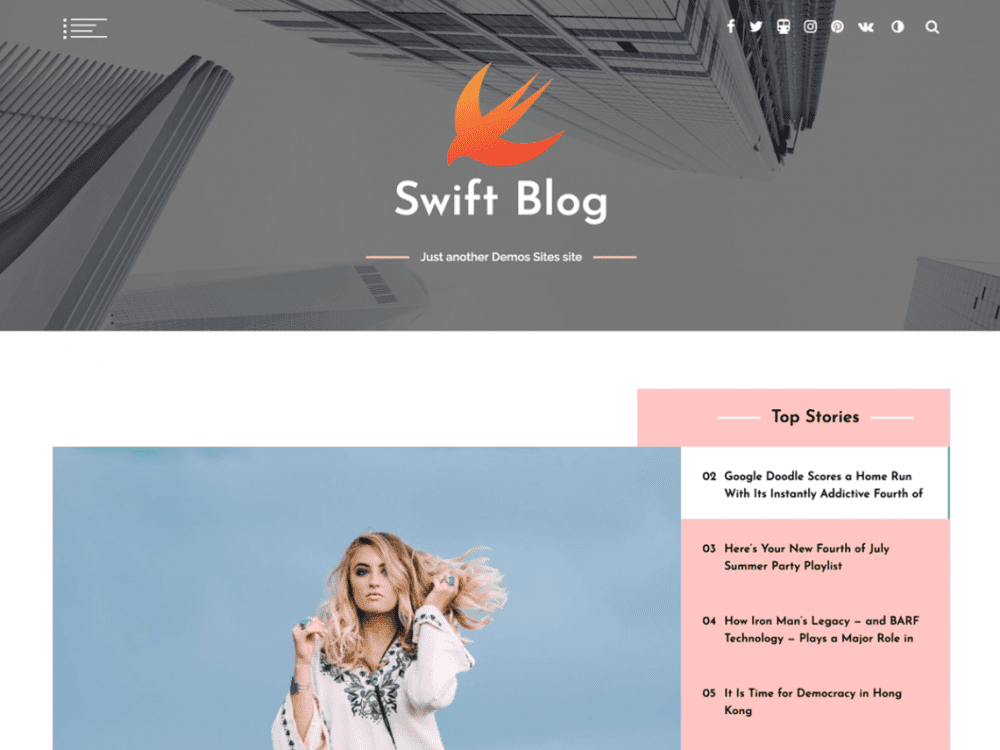 Free Swift Blog WordPress theme
