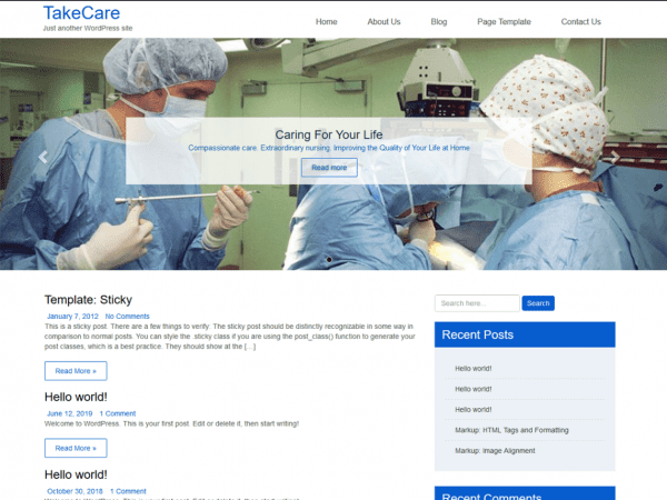 Free TakeCare WordPress theme