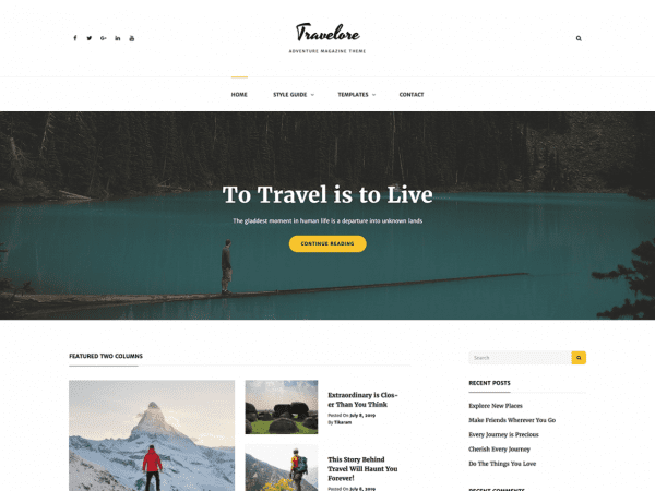 Free Travelore WordPress theme