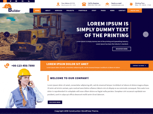 Free VW Construction Estate WordPress theme