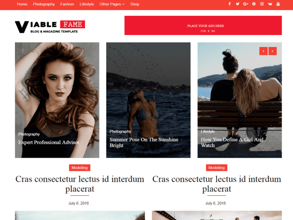 Free Viable Fame WordPress theme