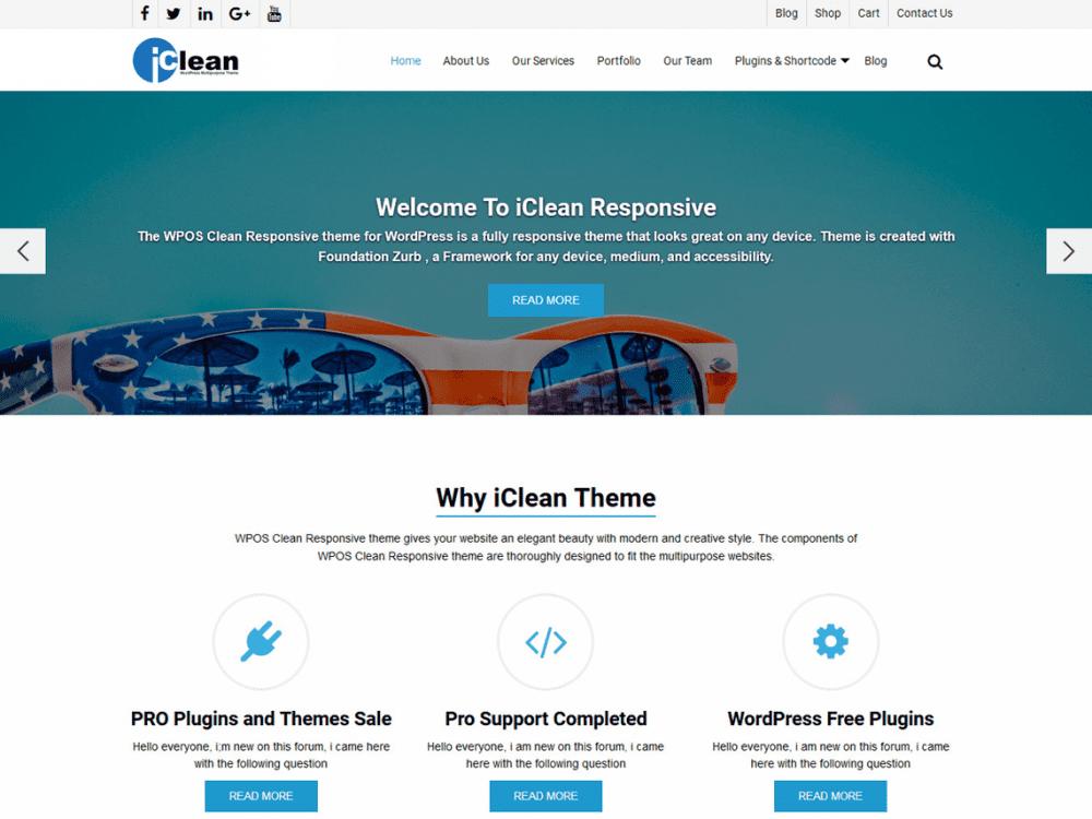 Free WP iClean Responsive WordPress theme