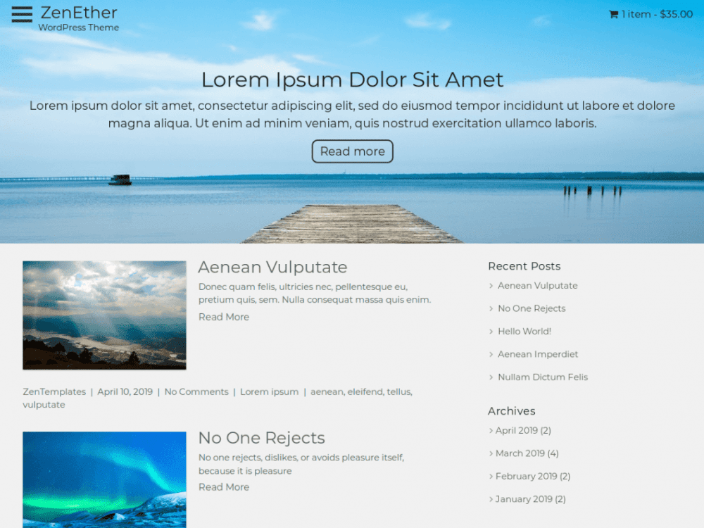 Free ZenEther WordPress theme
