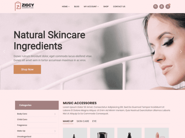 Free Zigcy Cosmetics WordPress theme