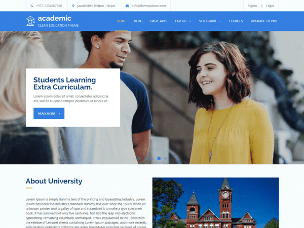 Free Academic WordPress theme