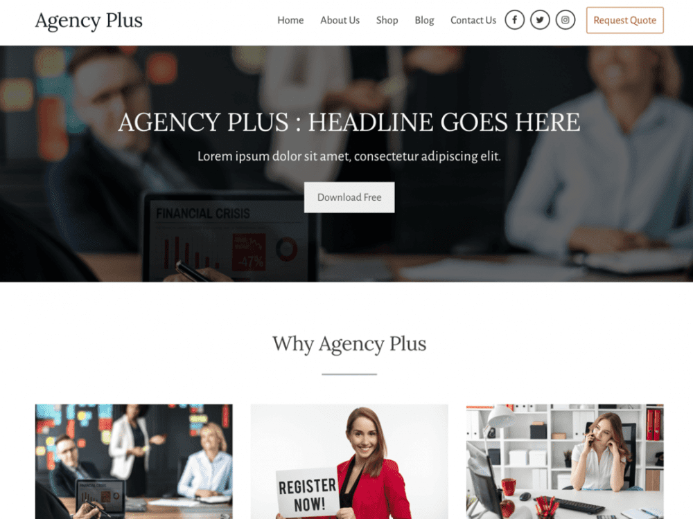 Free Agency Plus WordPress theme