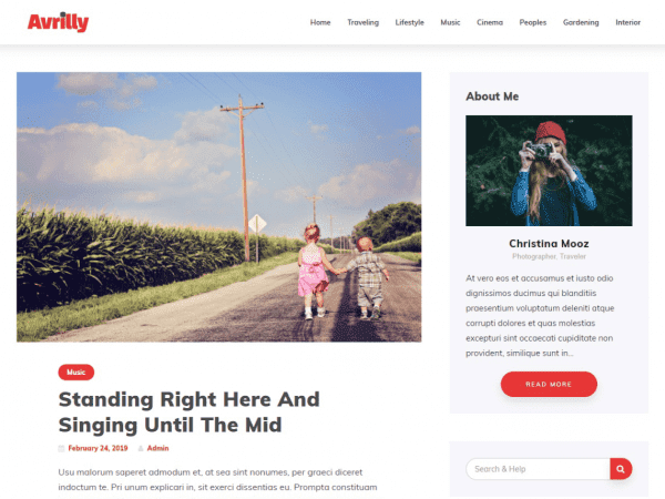 Free Avrilly WordPress theme