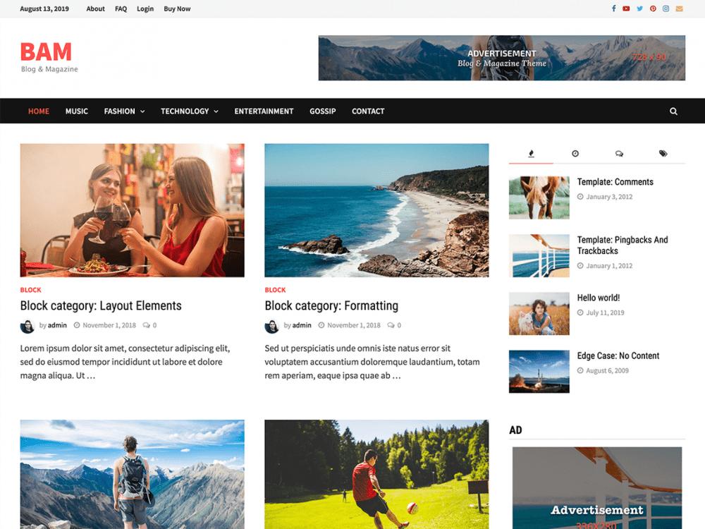 Free Bam WordPress theme